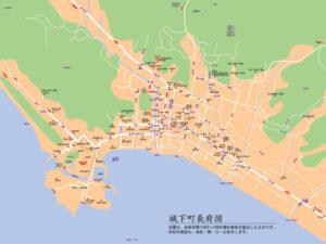 江戸時代後期の城下町長府を復元した地図のサムネイル